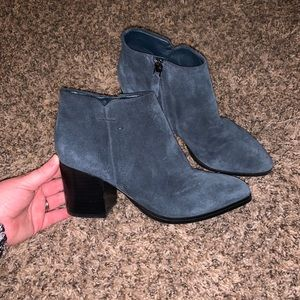 Marc Fisher Blue Suede Block Heel Boots Size 7